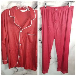 VTG 70s Mens JCPenny Nylon Satin Pajama Set Red